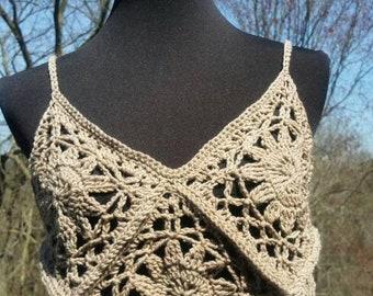 Crochet Crop Top, Au Natural, Crochet Festival Top, Summer Outfits, No Synthetic fibers, 100% Superwash Merino, Hippie Top, Boho Crochet Top