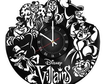 Disney Villains 12 inch VINYL RECORD CLOCK Diseny Party kids decor bedroom gift for children disney art