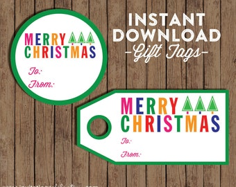 Christmas Gift Tag - Printable DIY Stickers - INSTANT DOWNLOAD - 2 styles - Colorful - Modern