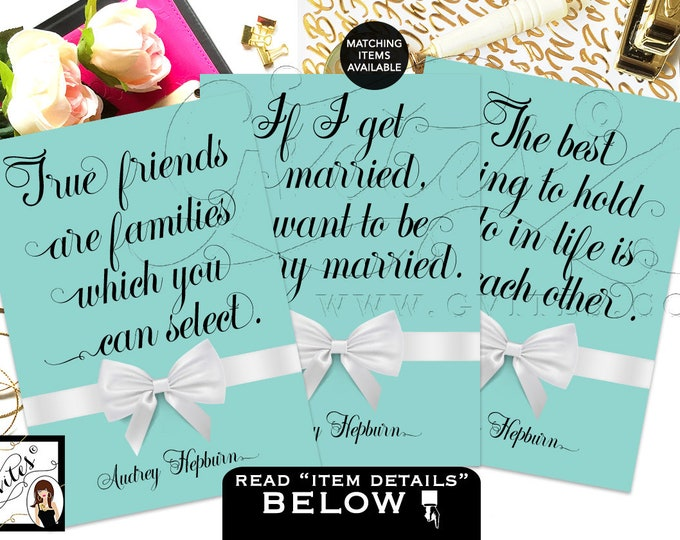 Breakfast at Bridal Shower Decor Party Quotes Audrey Hepburn Quotes Decorations, bridal shower signs {Set of 3, 5x7 or 4x6}