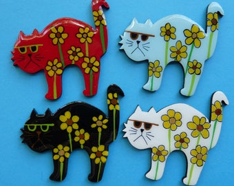 Whimsical Flower Power Kitty Cat in Pin, Magnet or Ornament - Free Shipping - Hand Painted - Desert Impressions