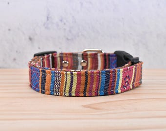 BOHO Orange striped Adjustable Dog Collar , Bohemian, Mexican / made with cotton fabric and nylon webbing / silver metal buckle / puppy