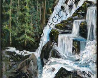 Acrylic Painting Mountain Waterfall