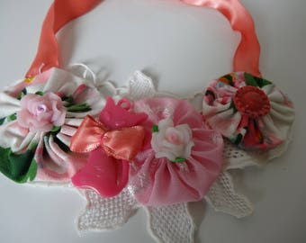 textile necklace in vintage fabric yoyos flowers fifty