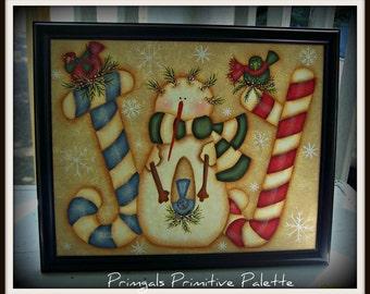 Joy Snowman Framed Canvas Winter Decoration Home Decor-Hand Painted