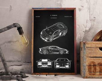 Lamborghini Patent Art Print - Patent Art Print - Patent Print - Sports Car Patent Art Print - Automobile Patent Print