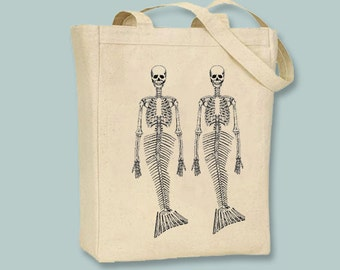 Twin Mermaid Skeletons on Canvas Tote -- Selection of sizes - ANY IMAGE COLOR available