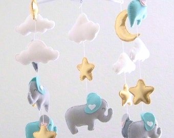 Mint and gold baby mobile, elephant baby mobile, baby mobile, nursery crib mobile, gold nursery decor, star moon mobile,  gray nursery decor
