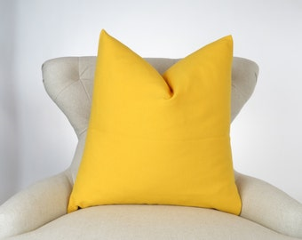 Throw Pillow Cover, Decorative Cushion, Euro Sham, Accent Pillow, Plain Pillow, Solid Color -MANY SIZES- Corn Yellow, Premier Prints
