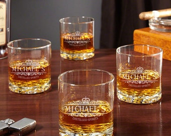 Kensington Personalized Whiskey Glasses - Buckman Rocks Style, Set of 4, Perfect Wedding Gift, Unique Best Man Gift Ideas and Groomsmen Gift