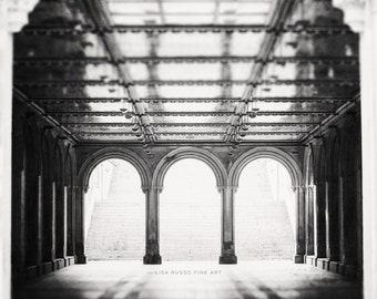 NYC Prints, Black and White Print or Canvas Art, New York City Prints, Bethesda Terrace, Architecture, Grey, Modern, Arches, Office.