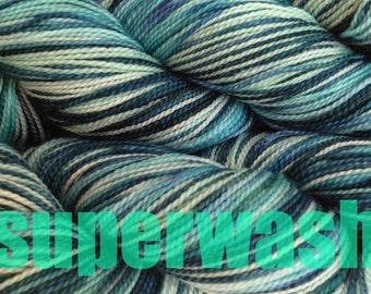 Fingering Weight Handpainted Sock Yarn in Beach Glass Superwash Mint Green Blue Teal