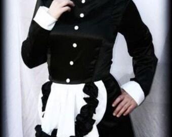 French Maid Dress Long Hobble Skirt Dress Black White Satin Adults Custom Size including Plus Sizes Womens Sissy Crossdresser