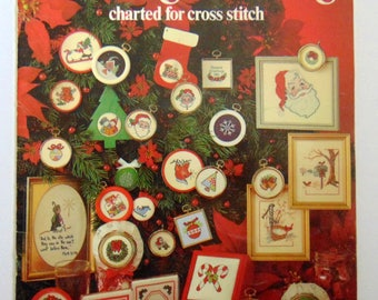 "Counted Cross Stitch patterns book ""Christmas Stitching"" Leisure Arts 1981 ornaments"