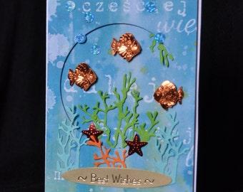 Fishes #5 Handmade Greeting Card birthday wishes animals lovers fish tank aquarium tropical fishes