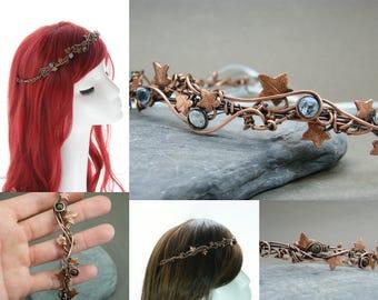 Woodland wedding circlet ~ Leaf tiara ~ Bridal headpiece leaves ~ Unique bridal hair crown ~ Ivy leaf circlet ~ Prom queen crown ~ Tiara ~