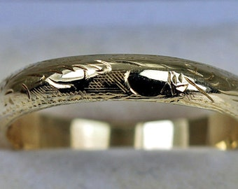 Estate 14k Gold Ring Wedding Band Eternity Pattern Etchings