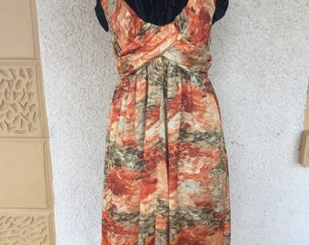 Gorgeous Vintage 1960s Handmade Dress Ruched Pleated Bodice Autumnal Tones