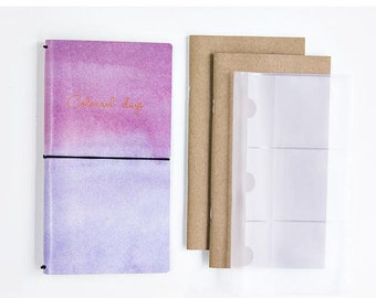 Travel Notebook Pink to lavender Ombre – Colourful days, Journal, Diary, refillable Planner