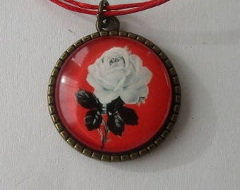 Necklace cotton red, white rose pattern