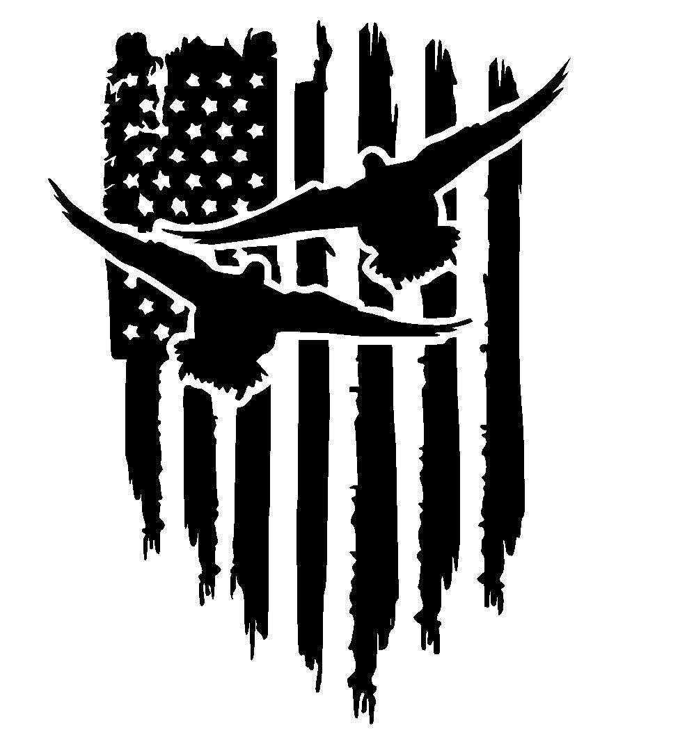 American Flag Duck Vinyl Decal Duck Hunting Decal Tattered