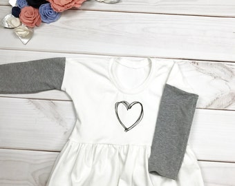 White and Grey Heart Shirt, Monochrome Heart Shirt, Valentine's Day Shirt, Ruffle Heart Shirt, Ruffle Valentine's Day Shirt, Ruffled Heart