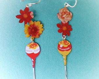 Chupachups lollipop flowers recycled tin earrings
