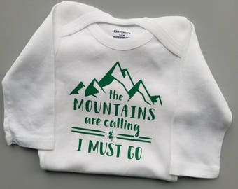 The Mountains Are Calling, Mountain Baby Clothes, Hiking Baby Clothes, Camping Baby, Gender Neutral Baby Clothes, Explore, Wilderness Baby