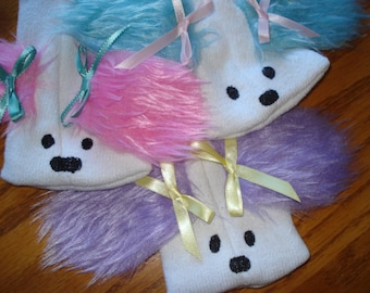 Set of Three Sock Puppets,  moveable mouths dogs pink, purple and turquoise furry ears