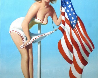 Pinup girl American flag 30x24 (76 x 61 cm) oils on canvas by artist RUSTY RUST / 1583