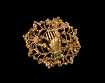 Antique Edwardian Czech Pin, Gilt Filigree Brooch, Miniature Hand, Animated Bird, Emerald Glass Ring & Bracelet, Rare Bohemian Jewellery