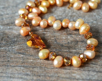 Apricot baroque pearl necklace Romantic crystal heart necklace Sparkling Swarovski crystal bead necklace Valentines Day gift for her