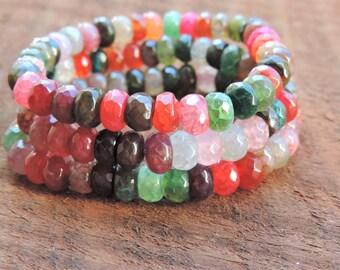 Faceted Multicolor Agate Bracelet, Chakra Bracelet, Healing Meditation Bracelet, Yoga Bracelet, Anxiety Bracelet, Gemstone Bracelet