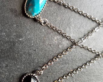 Unique stone pendant necklace with silver plated chain