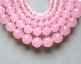Full Strand 15inches Pink Chalcedony Round Beads - A507
