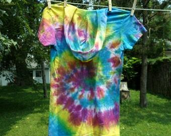 Hooded Swirl Tye Dye Top, Purple Blue Green Yellow Pink Swirl Tye Dye Medium Junior Cotton Tshirt, Med Jr. Tie Dye Swirl Top