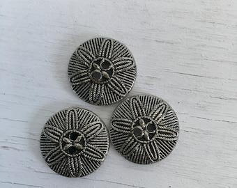 Vintage buttons silver metal through sand dollar type design Three matching three-quarter inch diameter