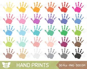 Hand Druckt Clipart Kinder Baby Handabdruck Bunten Regenbogen Handabdrucke ClipArt Malte