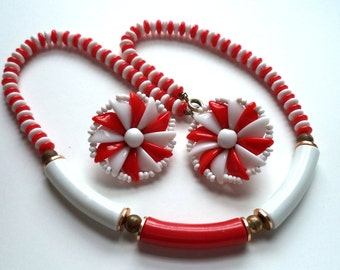 West Germany Red and White Lucite Necklace and Earrings Set, Signed
