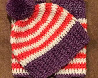 Crochet Striped Pom Pom Hat with Leg Warmers