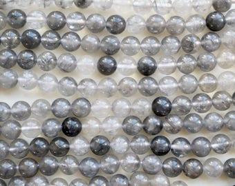 8mm Gray Quartz beads, full strand, natural stone beads, round, quartz beads, 80033