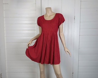 90s Babydoll Dress in Carnelian Red & Dots- 1990s Cap Sleeve Empire Mini Dress- Small- Lolita- Valentine's Day