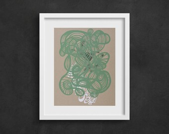 "Giclée Doodle Print, Limited Edition Print, Unique Abstract Wall Art, Organic Drawing, Freehand, Home Decor- ""Overcome"""