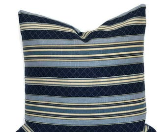 Vintage Farmhouse Striped Modern Cottage Pillow // Zippered Throw Pillow Cushion Cover Blue French Country Toss // Waverly Linen Pillow