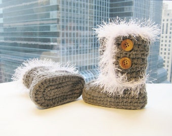 Toddler Boots Crochet Pattern, Crochet Toddler  Booties Pattern, Toddler Furry Boots