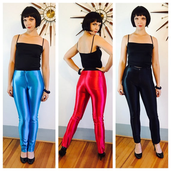 Vintage 70s Disco Pants, Shiny Black Spandex Jeans, Skin Tight Pant, Black Cigarette Pants, Hight Waisted Trousers, GREASE Hot Sandy Costume
