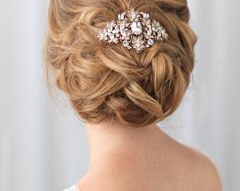 Gold Bridal Comb, Vintage Wedding Hair Comb, Gold Bridal Hair Comb, Bridal Hair Accessory, Wedding Headpiece, Antique Hair Comb ~TC-2241