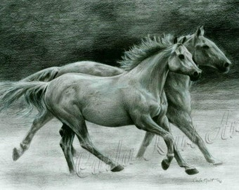 Horse Art RUNNING FREE Original Artwork by Carla Kurt