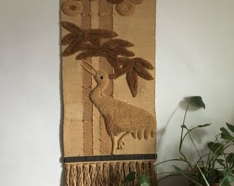 mid century don freedman bird tapestry. vintage 1970s boho bohemian bird crane wall hanging. asian boho hanging tapestry wall decor