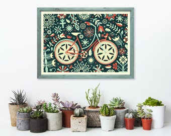 Floral Bicycle Art Print A3 - Housewarming Gift, Christmas Gift, Gifts for Him, Home Decor, Black Wall Art, Wall Art - Inspired by Lithuania